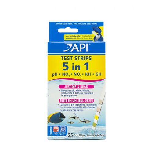 API 5 in 1 Aquarium Test Strips 25 Strips